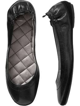 Women's Clothing: Women's Clothing: Leather ballet flats: Ballet Flats Shoes | Gap :  rubber sole quilted insole leather ballet flats flats