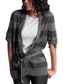 Women's Clothing: Women's Clothing: Striped roll-sleeve cardigan: Tops New Arrivals | Gap :  striped roll-sleeve cardigan soft gray grey
