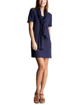 Women: T-shirt scarf dress - new navy