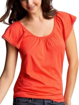Women's Clothing: Women's Clothing: Flutter sleeve pom-pom T: Warm Weather Looks | Gap :  loose cotton shirt scoop neck