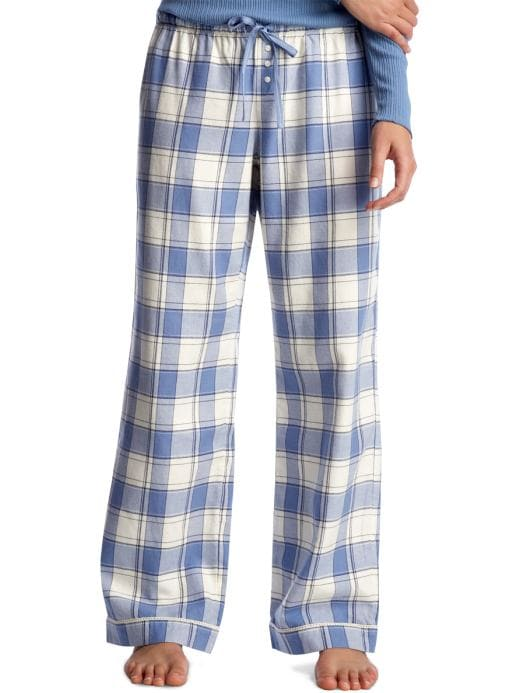 Women's Clothing: Women's Clothing: Plaid flannel pajama pants: Sleepwear New Arrivals | Gap :  gap body flannel white wide leg