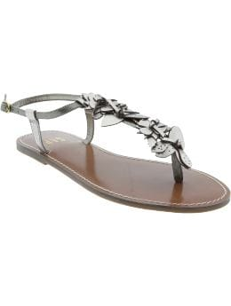 Women's Clothing: Women's Clothing: Metallic flower sandals: Accessories New Arrivals | Gap :  rounded toe pu applique silver
