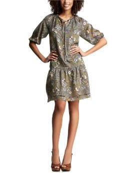 Women's Clothing: Women's Clothing: Floral drop-waist dress: Dresses New Arrivals | Gap :  womens gray flare vneck