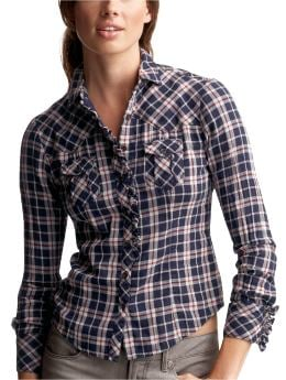 Women: Ruffle plaid shirt - blue plaid