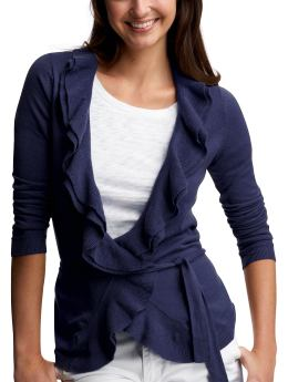 Women: Ruffled wrap cardigan - new navy