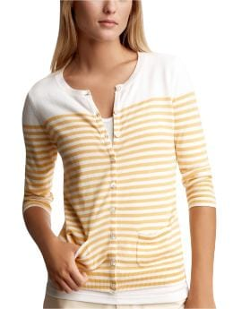 Women's Clothing: Women's Clothing: Striped cropped-sleeve cardigan: Cardigans Sweaters | Gap :  button up womens clothing womens knit
