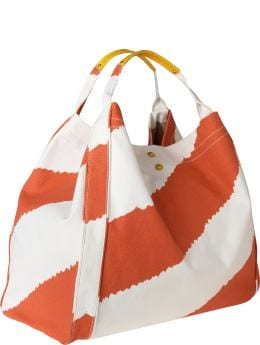 Women: Oversized canvas tote - orange stripe