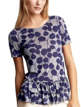 Women's Clothing: Women's Clothing: Floral ruffle-edge top: Tops New Arrivals | Gap :  short sleeves shirt tiers clothing