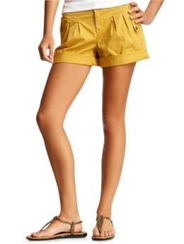 Women's Clothing: Women's Clothing: Pleated cuff shorts: Bottoms New Arrivals | Gap :  spring womens cuffed pleats