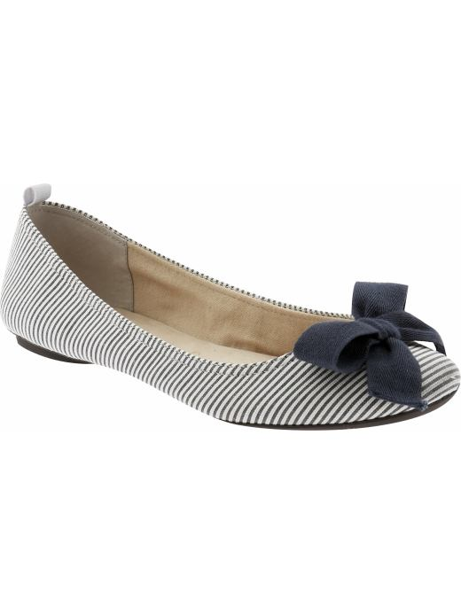 Women's Clothing: Women's Clothing: Bow ballet skimmers: Trend: Blue & White | Gap :  rounded toe nautical canvas womens