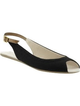Women's Clothing: Women's Clothing: Slingback peep-toe flats: Accessories New Arrivals | Gap :  rubber sole gap cotton canvas