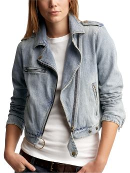 Women's Clothing: Women's Clothing: Denim biker jacket: Jackets Outerwear | Gap