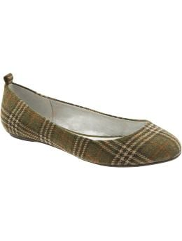 Women's Clothing: Women's Clothing: Plaid ballet flats: Out on the Town 24-7 Cozy Chic | Gap :  wool womens clothing green womens