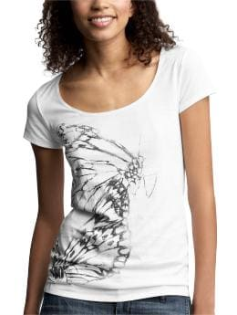 Women's Clothing: Women's Clothing: Butterfly graphic scoop T: Short-Sleeved Ts & Camis | Gap :  short sleeves black and white white clothing