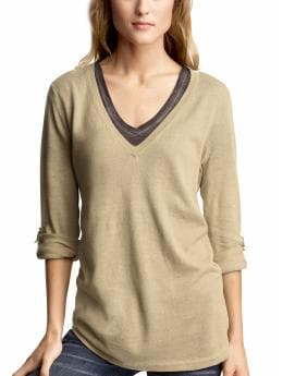 Women's Clothing: Women's Clothing: Boyfriend roll-up V-neck sweater: V-Necks Sweaters | Gap from gap.com