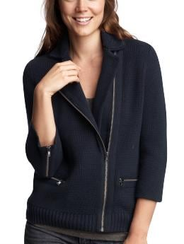 Women's Clothing: Women's Clothing: Moto knit blazer: Cardigans Sweaters | Gap :  womens zipper notched collar sleeves