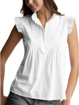 Women's Clothing: Women's Clothing: Flutter sleeve top: Short-sleeved Shirts & Tops | Gap :  loose shirt collar white