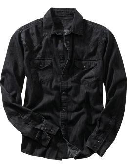 Men's Black chambray western shirt from gap.com