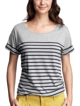 Women's Clothing: Women's Clothing: Striped cuff-sleeve T: Short-Sleeved Ts & Camis | Gap :  short sleeves clothing heather grey womens