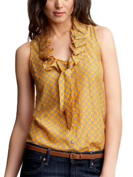 Ruffled micro-print sleeveless top | Gap :  womens sleeveless scoop neck pattern