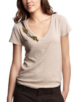Applique V-neck T | Gap :  short sleeves womens gold summer