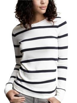 Striped supersoft long-sleeved  T | Gap :  striped complementary colors gray knit