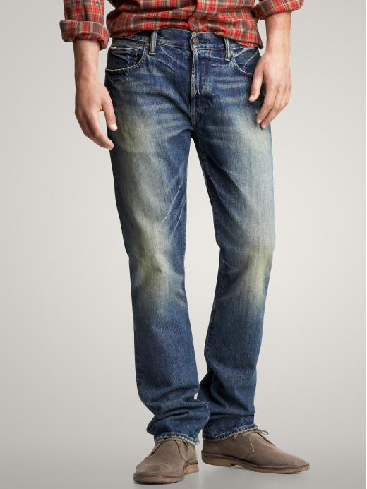 Gap Mens Straight Fit Jeans Bleeker Wash