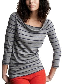 Striped cowlneck T | Gap :  basic black and white white nautical