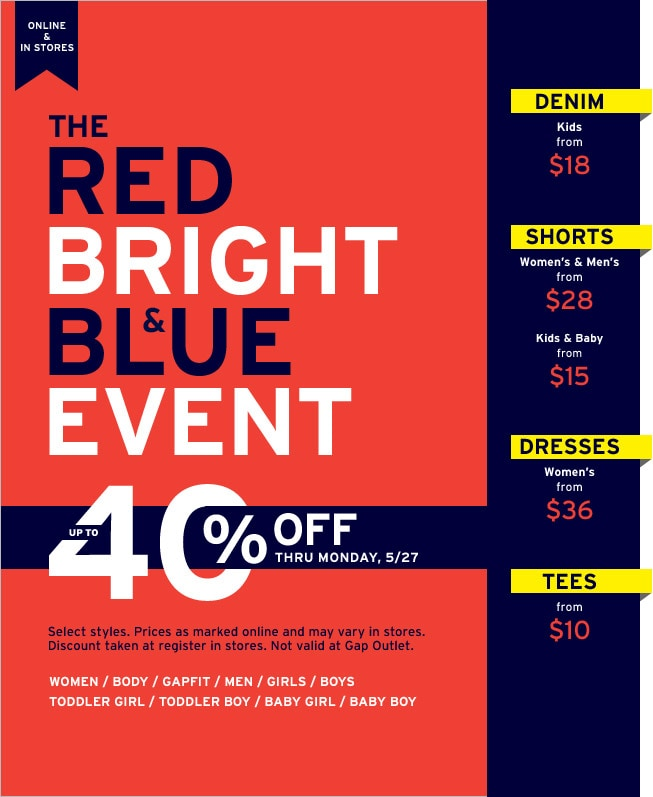 the red bright & blue event up to 40% off thru monday, 5/27