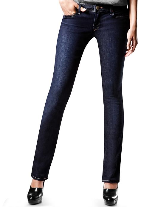 Gap Petite Womens Real Straight Jeans Dark Wash