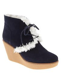 Shearling wedge booties