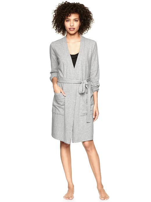 Gap Womens Heather Gray Stretch Jersey Short Robe
