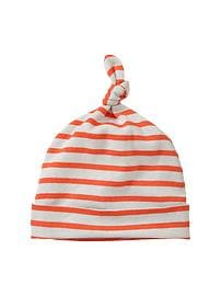 Orange striped knot hat