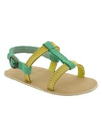 Suede colorblock T-bar sandals