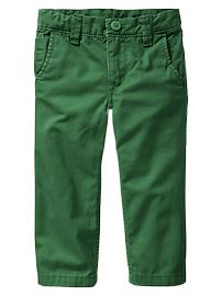Flat-front colored khakis