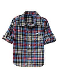 Convertible plaid popover shirt