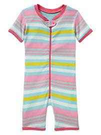 Striped picot sleep zip romper