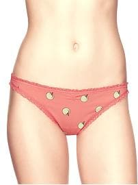 Crochet-trim cherries thong