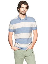 Wide stripe slub polo