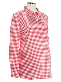 Gingham pocket popover shirt