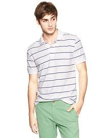 Small stripe pique polo