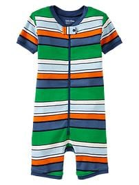 Multi-stripe zip sleep romper