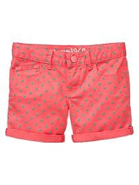 Colored dot midi denim shorts