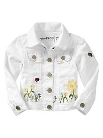 Embroidered white denim jacket