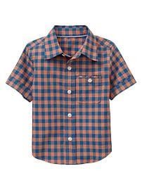 Short-sleeve gingham shirt