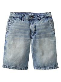 Herringbone denim shorts