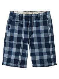 Surf plaid flat-front shorts