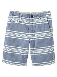 Striped flat-front chambray shorts