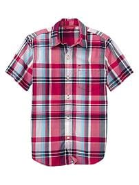Short-sleeve bright plaid shirt