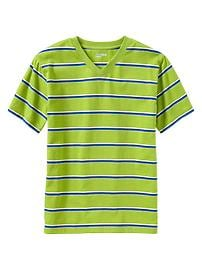 Multi-striped V-neck T